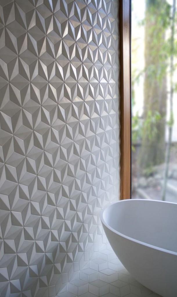 белая 3д плитка для ванной комнаты