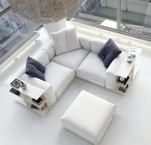 белый угловой диван малогабаритный фото модульный с полками