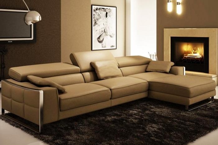 бежевый диван угловой с подушками передвигающимися фото