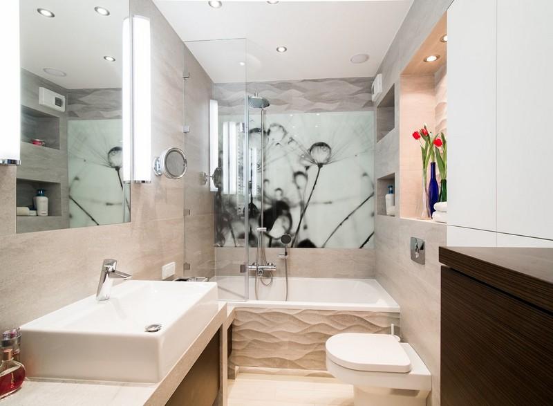 черно-белые фотообои в интерьере ванной комнаты цветы пух одуванчика фото