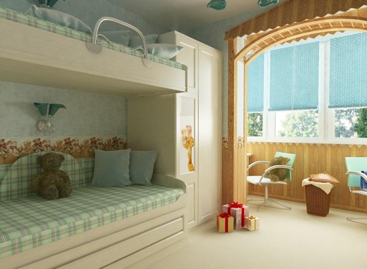 дизайн детской комнаты для двух детей фото пастельные тона балкон
