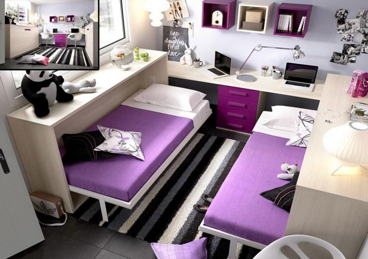 дизайн комнаты для двух сестер девочек фото кровать трансформер дерево фиолетовый