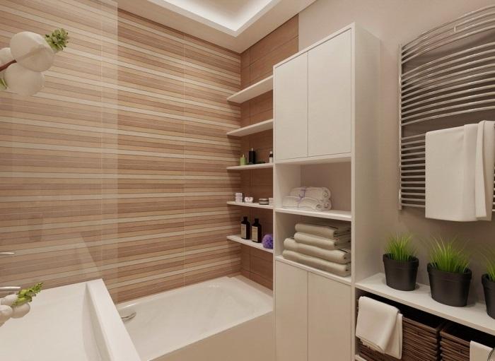 дизайн маленькой ванной плитка с горизонтальными полосками