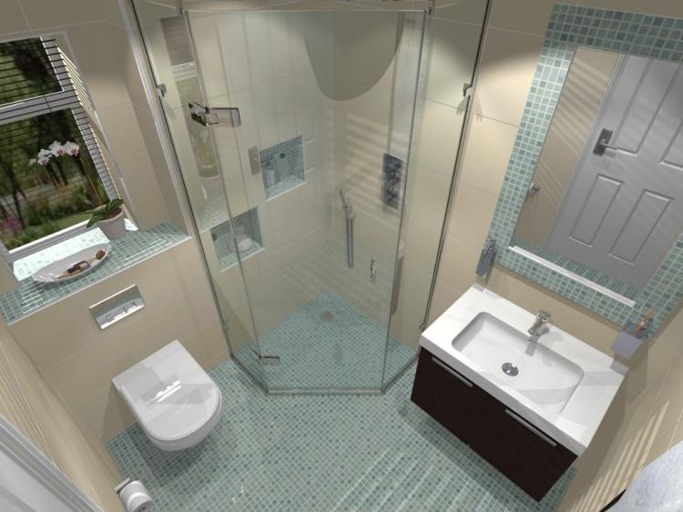 дизайн маленькой ванной угловой душ бежевая плитка для стен голубая плитка-мозаика для ванной