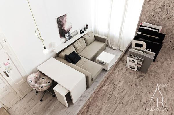 дизайн однокомнатной квартиры студии 20 кв м скандинавский стиль гостиная вид сверху фото