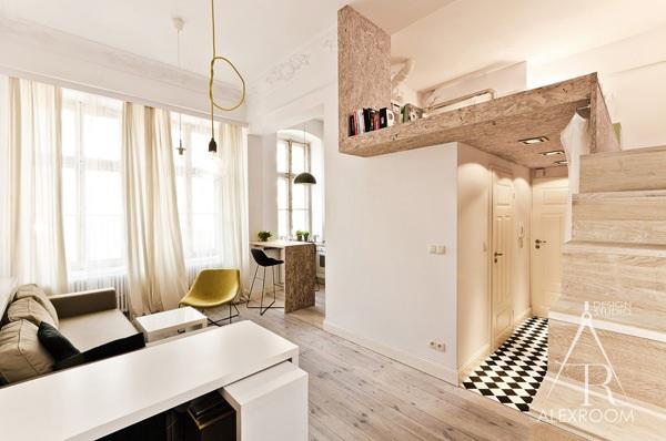 двухуровневая однокомнатная квартира студия 30 кв м дизайн скандинавский стиль гостиная спальня кухня