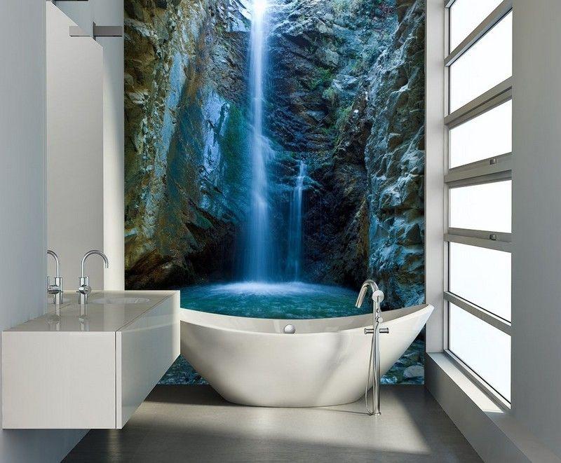 фото современного интерьера ванной комнаты белый фотообои водопад