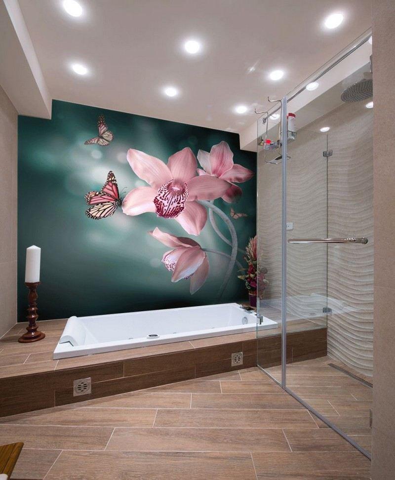 фотообои орхидеи в интерьере маленькой ванной комнаты идеи фото
