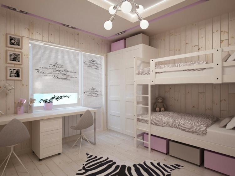 идея интерьера деской комнаты для двух девочек дерево белый розовый