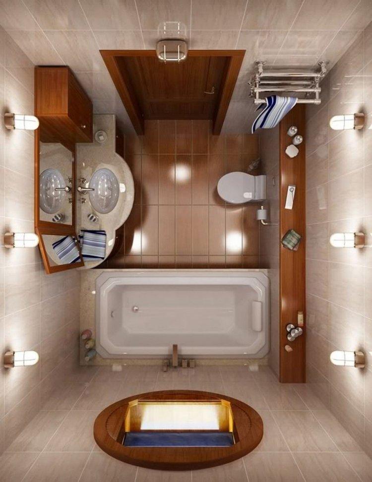 идея интерьера маленькой ванной бежевая плитка мраморная столешница