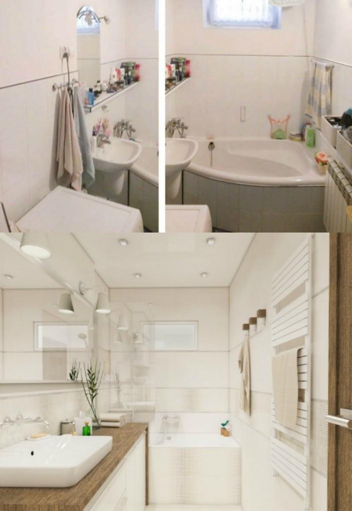идея ремонта маленькой ванной в белом цвете дерево фото до и после