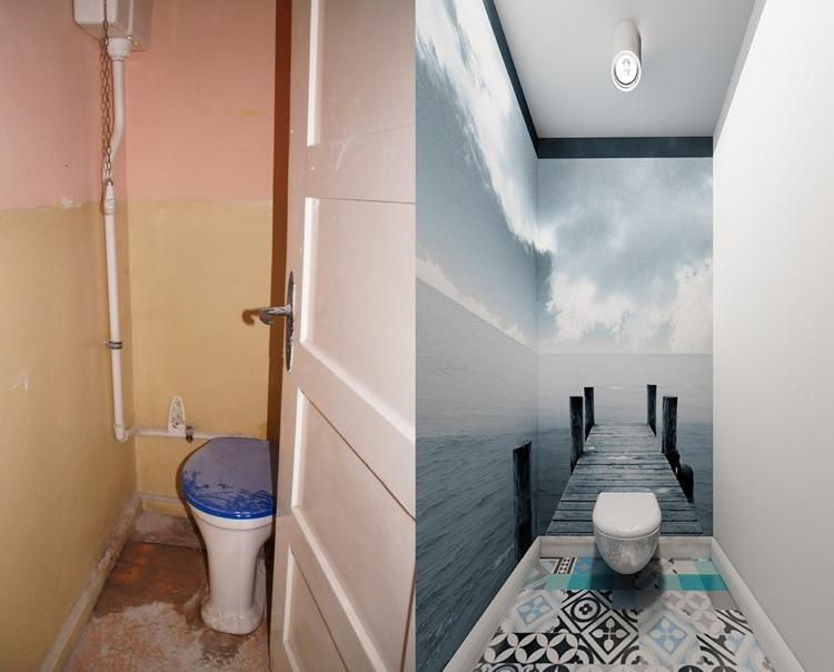 идея ремонта туалета фото до и после фотообои серо-голубой