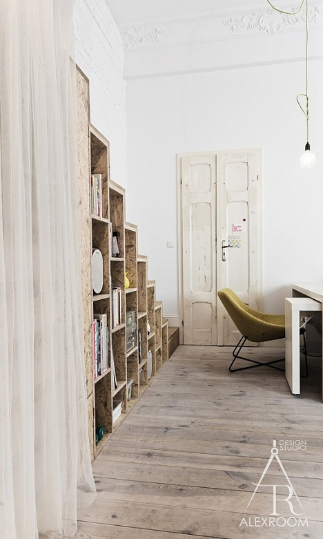 интерьер однокомнатной квартиры студии 30 кв м два яруса полки рабочее место фото