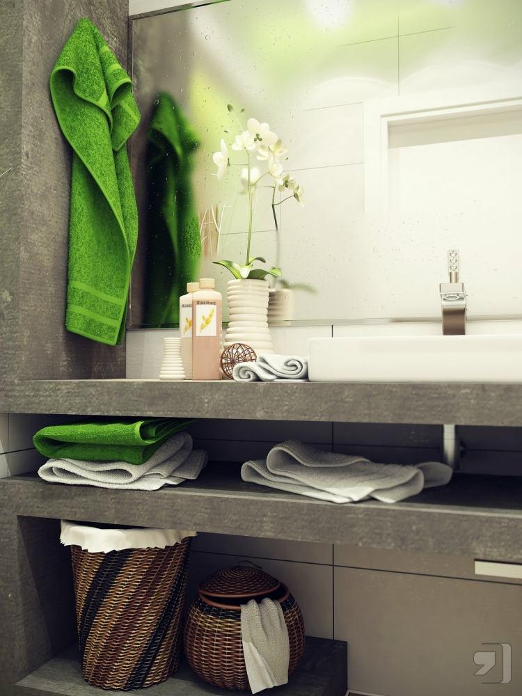 интерьер ванной комнаты белая плитка для ванной серая бетонная столешница зеленый текстиль