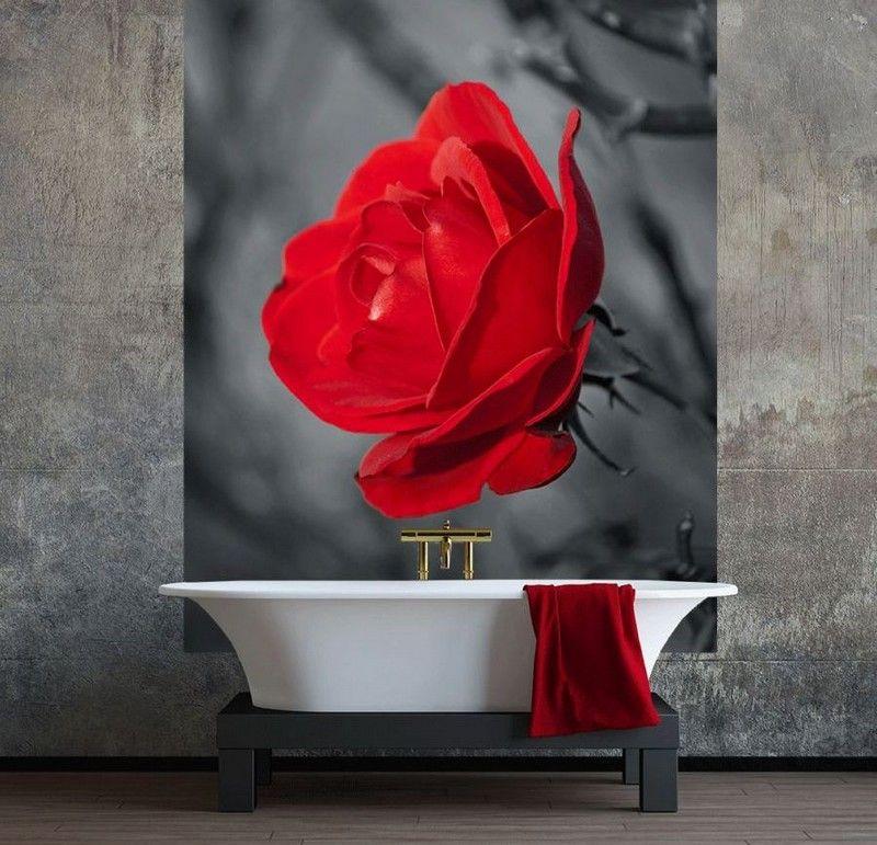 интерьер ванной комнаты фотообои роза фото