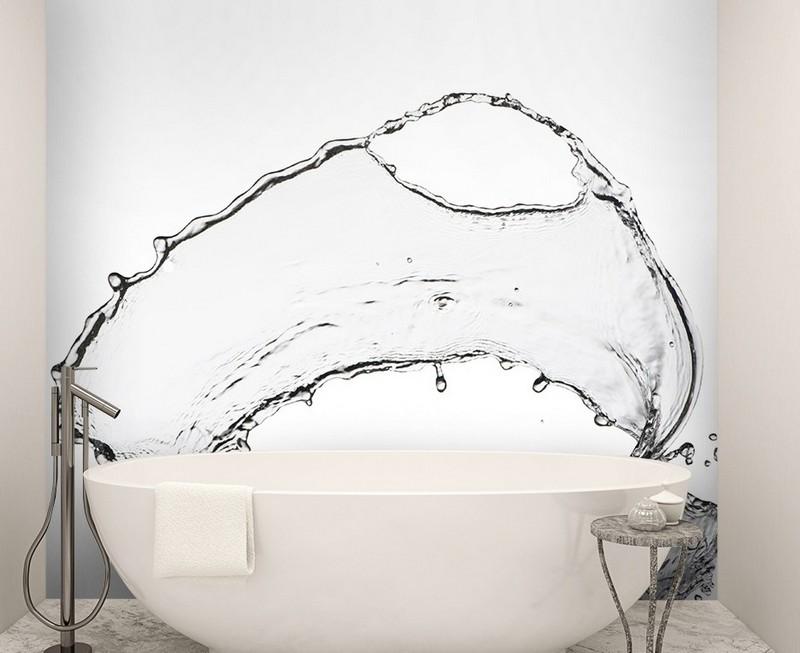 интерьер ванной комнаты маленького размера черно-белые фотообои вода фото