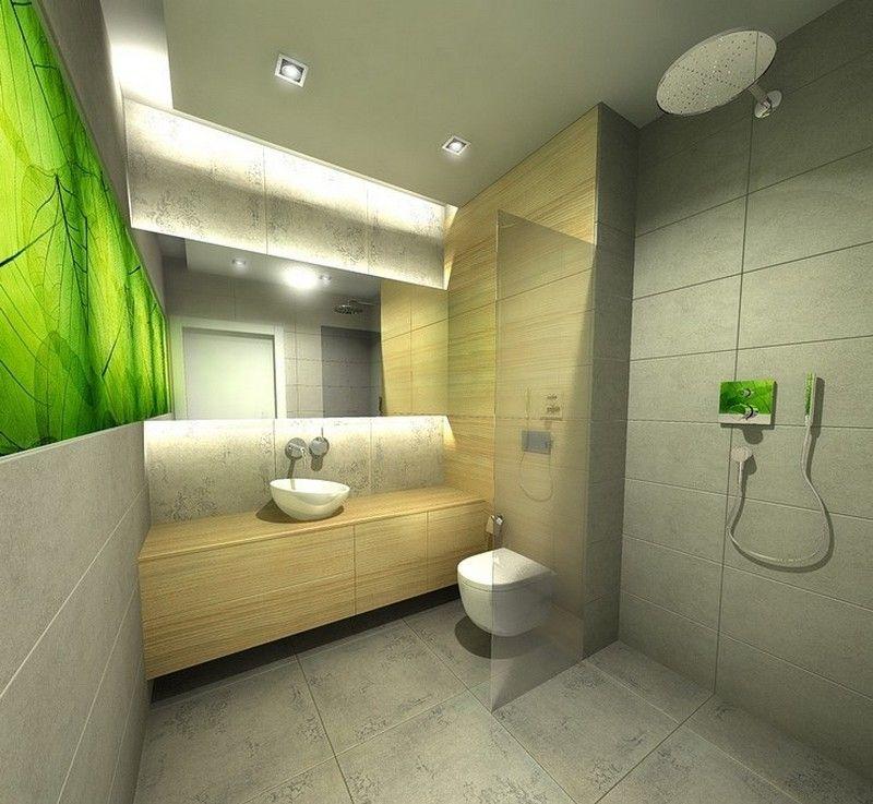 интерьер ванной комнаты маленького размера фотообои зеленый лист фото