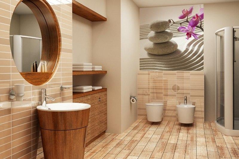 интерьер ванной комнаты песочная плитка дерево фотообои камни песок орхидея дзен фото