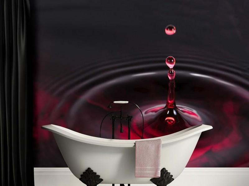 интерьер ванной комнаты темно-красные бордовые фотообои капля фото