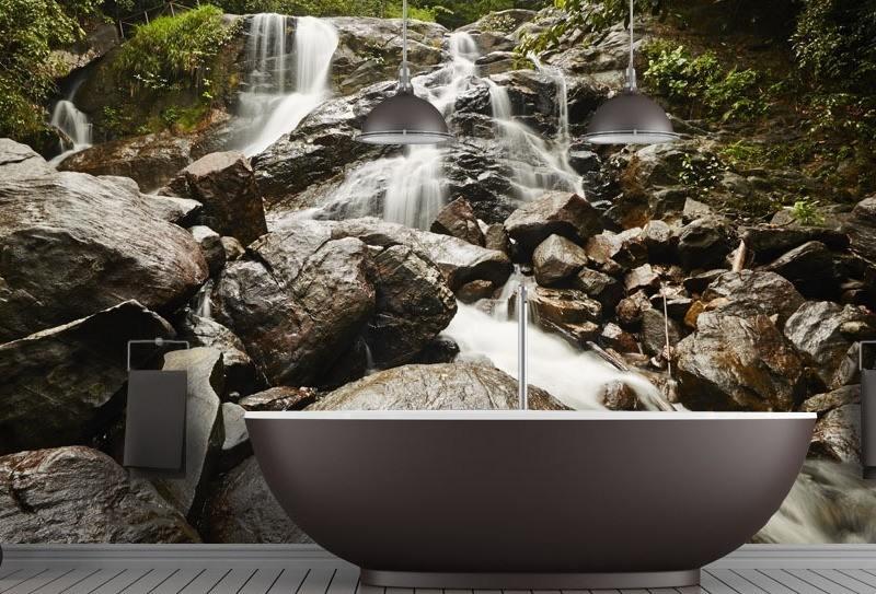 интерьер ванной комнаты в современном стиле фотообои водопад фото