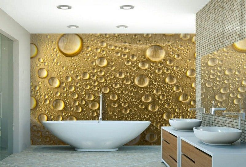 интерьер ванной комнаты золотые фотообои капли фото