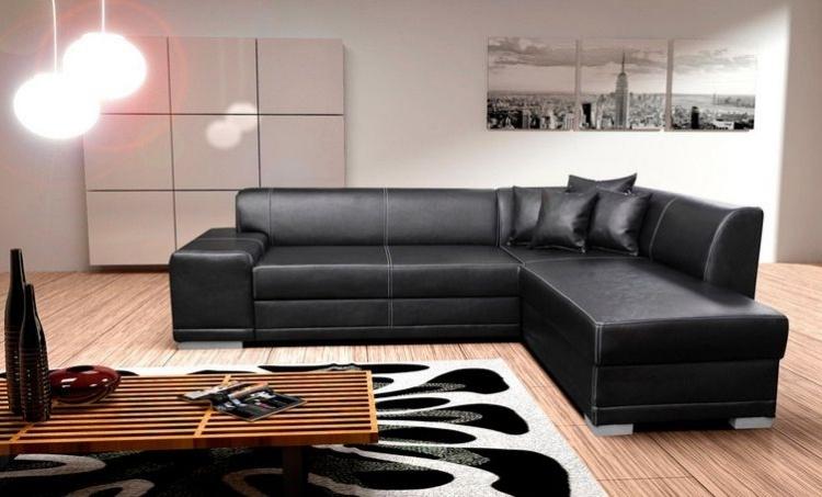 классический угловой диван черный кожаный фото