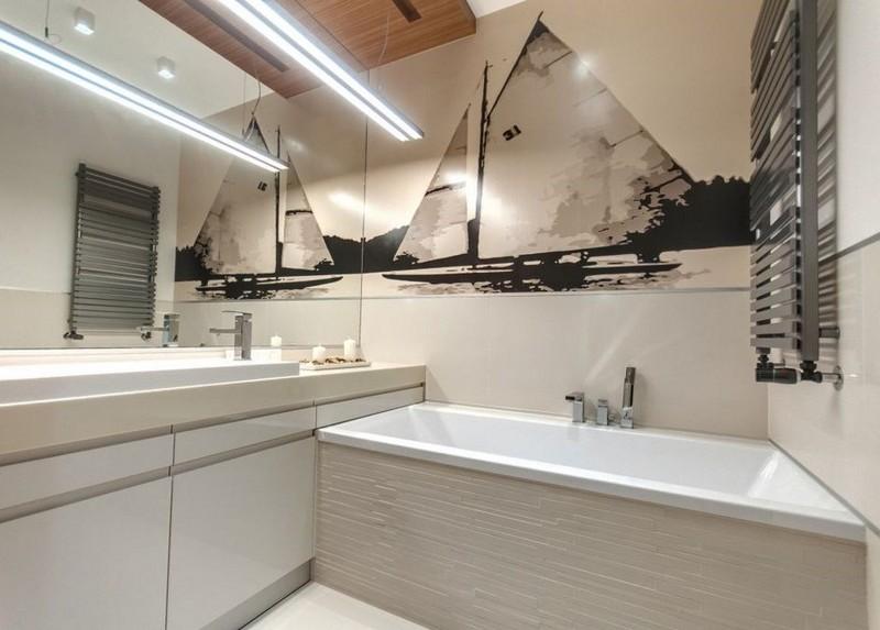 маленькая ванная комната идеи фотообои черно-белые корабль море фото