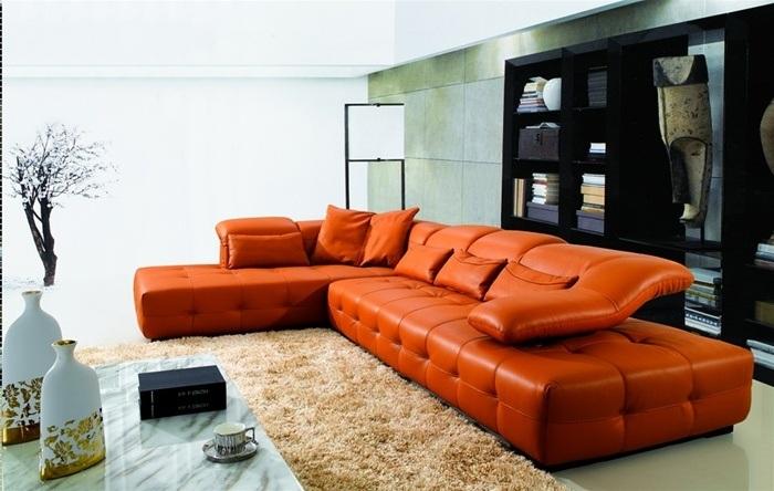 необычный угловой диван оранжевый оригинальный фото