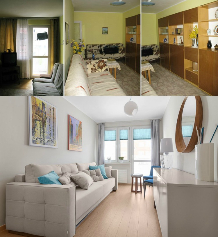 ремонт маленькой узкой комнаты современный стиль до и после фото