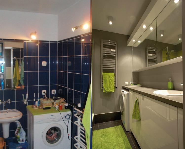 ремонт маленькой ванной комнаты серый белый цвет зеленые акценты полотенцесушитель стиральная машина