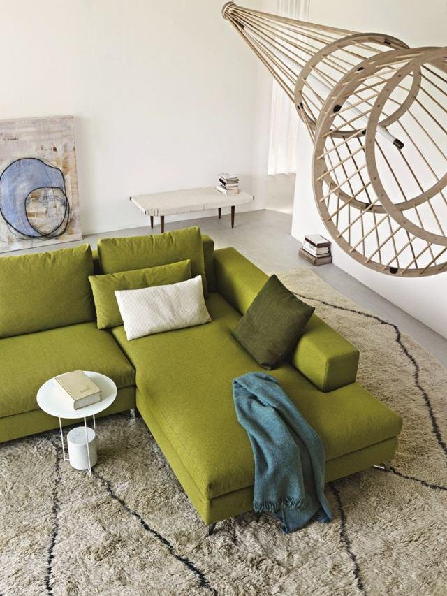 тканевый зеленый угловой диван фото современный интерьер