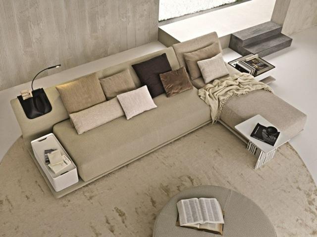угловой диван бежевый с подушками с ящиком фото