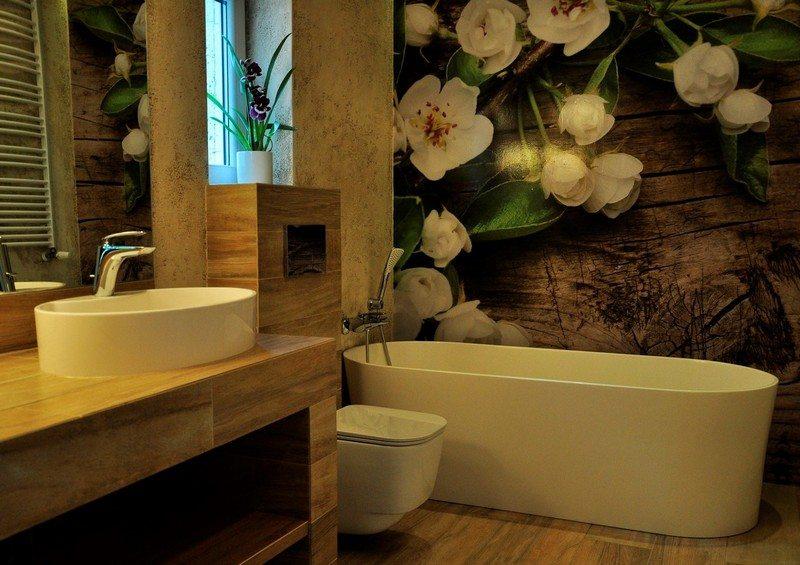 ванная комната дерево фотообои цветы в интерьере фото