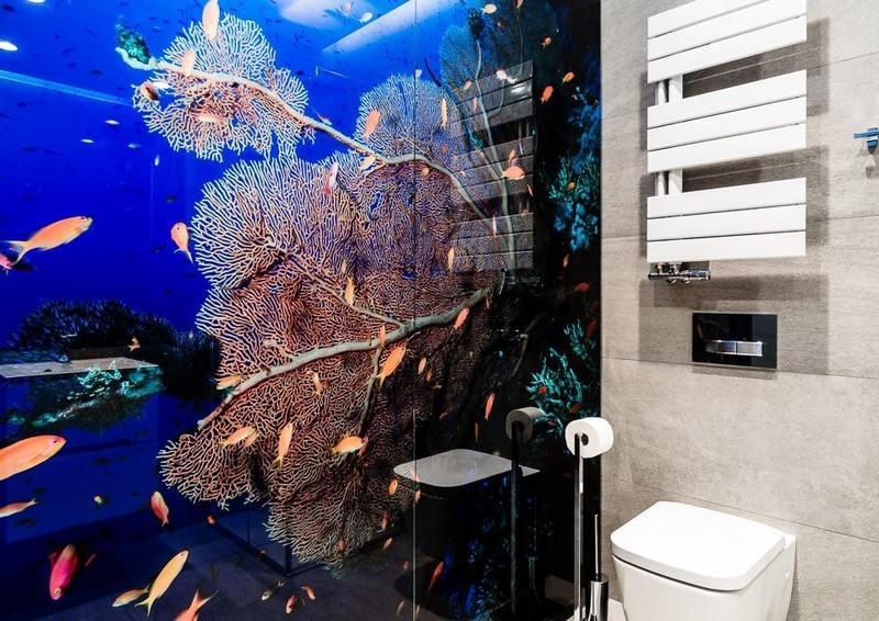 ванная комната в современном стиле душевая стеклянная перегородка фотообои подводный мир
