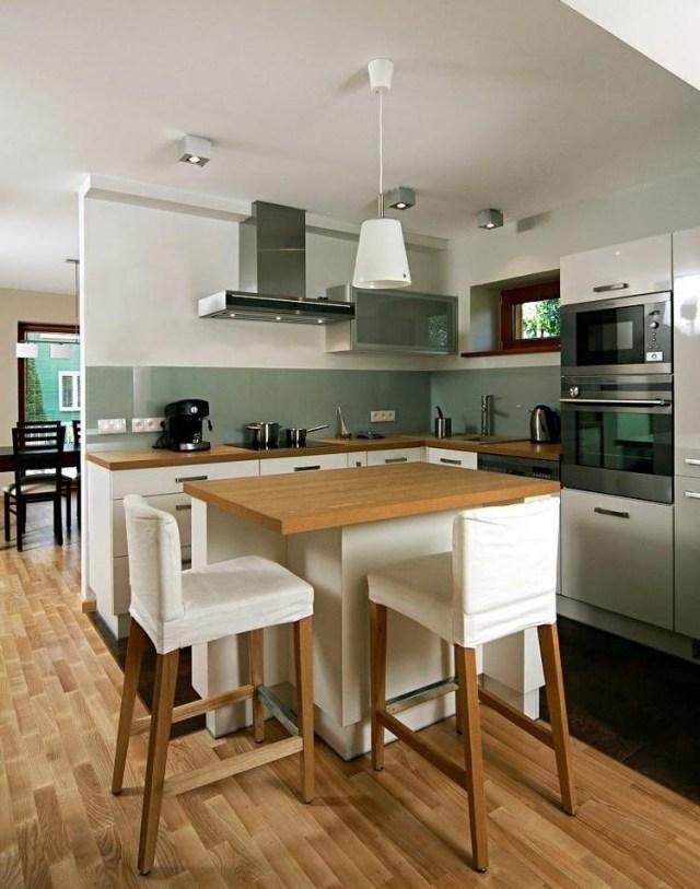 бело-зеленая кухня матовая фото деревянная столешница