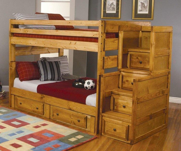 детская двухъярусная кровать с ящиками фото идеи для маленькой спальни