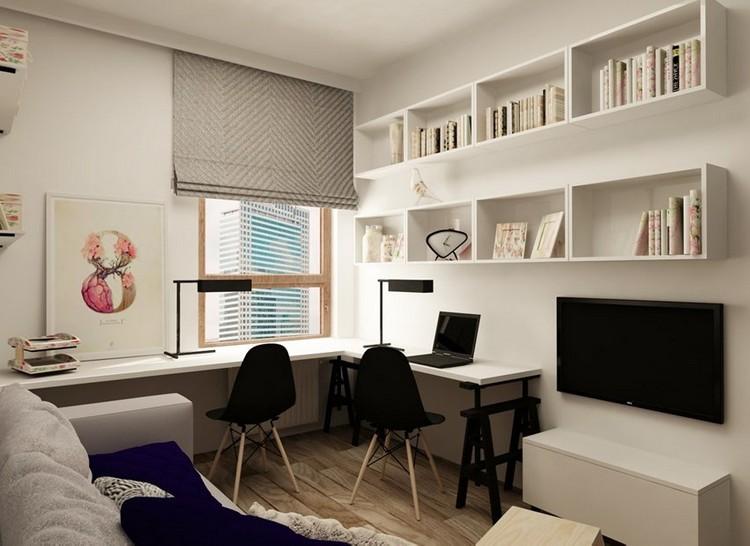 дизайн кабинета на двоих фото бежевый черный