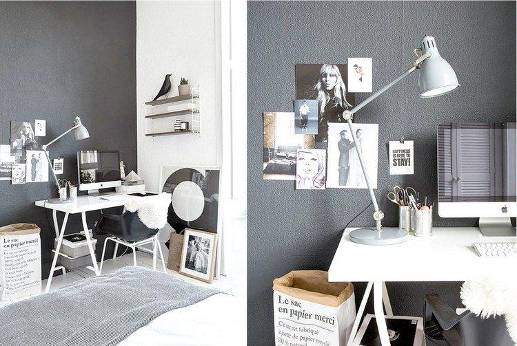 дизайн кабинета в квартире фото черно-белый интерьер