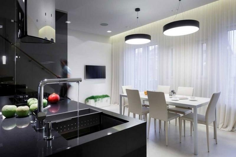 дизайн кухня столовая фото интерьер обеденная зона черный белый