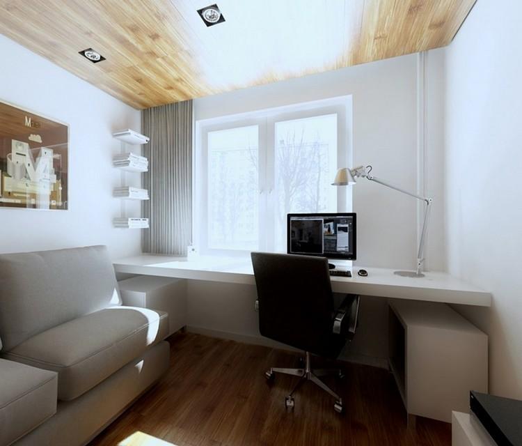 дизайн рабочего места дома фото белая столешница подоконник