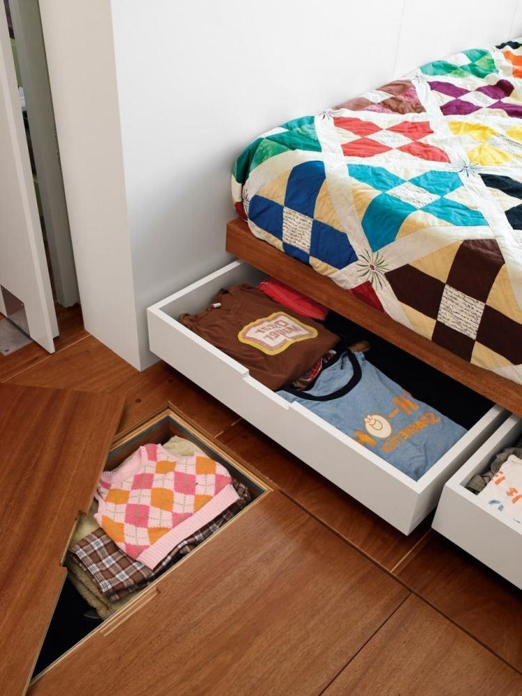 двуспальная кровать с ящиком для белья фото идеи для маленькой спальни