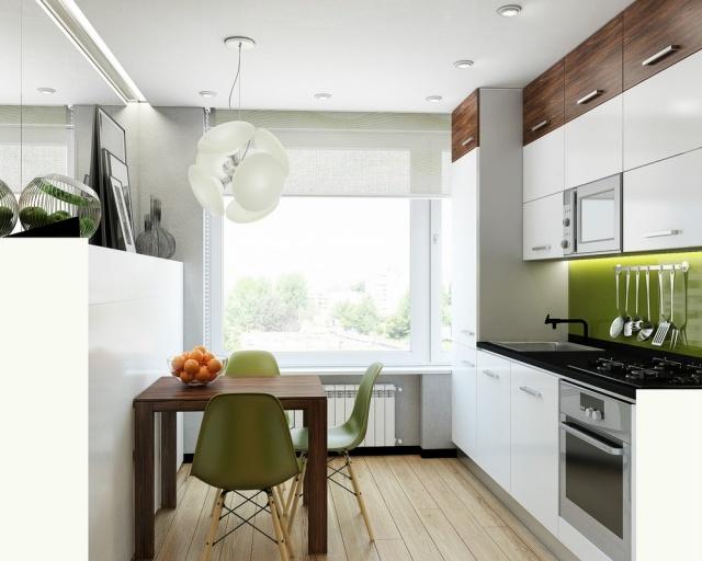 интерьер бело-зеленой кухни с деревом фото