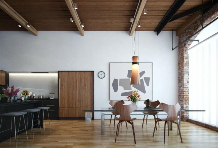 интерьер дизайн кухня столовая фото коричневый современный стиль