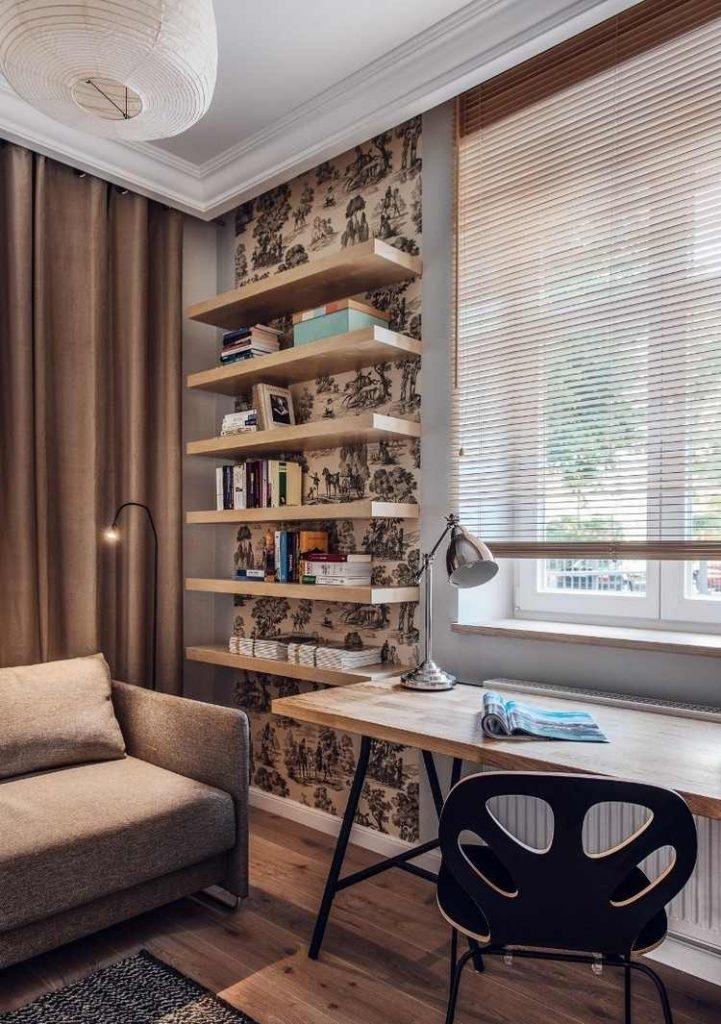 интерьер кабинета в доме фото винтажный стиль деревянные полки