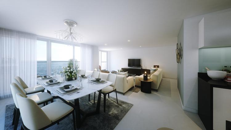 интерьер кухни гостиной столовой фото белый цвет частный дом
