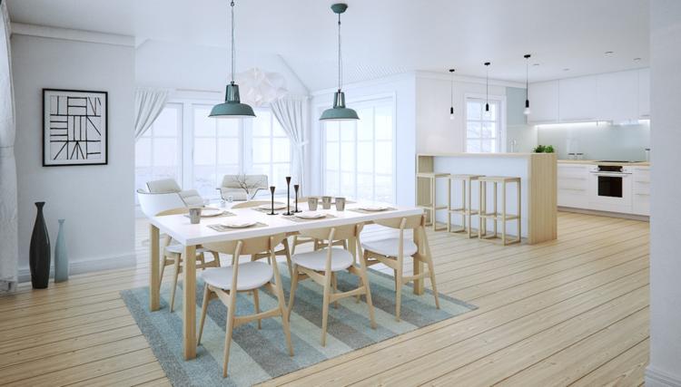 интерьер кухня столовая гостиная фото белый голубой бежевый