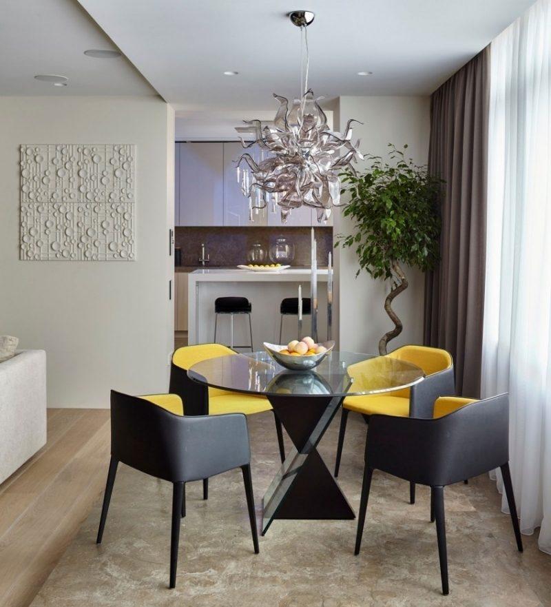 интерьер обеденная зона дизайн фото круглый стеклянный стол современный интерьер