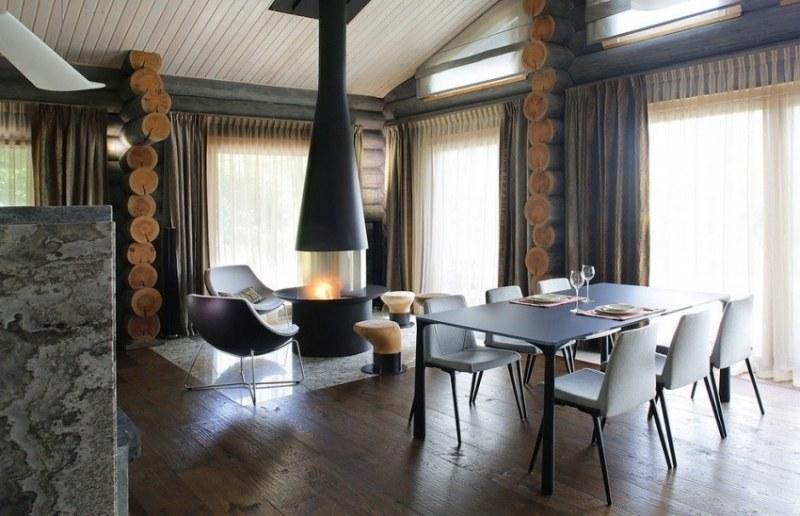 интерьер столовая гостиная фото черный частный дом