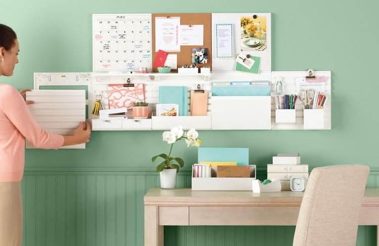 кабинет дизайн фото система хранения мятные стены