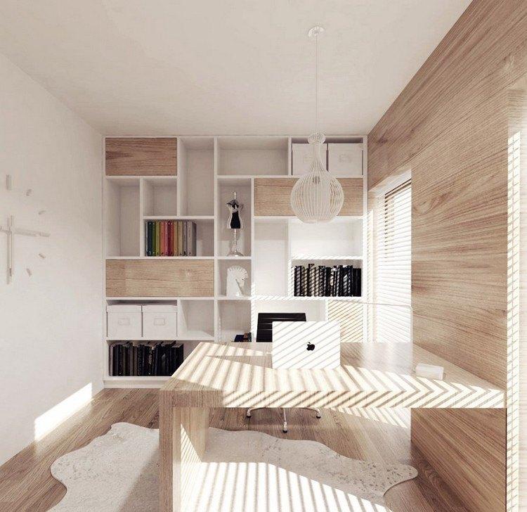 кабинет в квартире фото стеллаж стол дерево скандинавский стиль